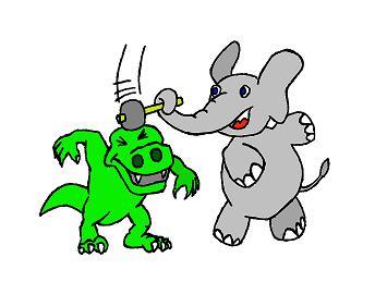 De olifant slaat hem