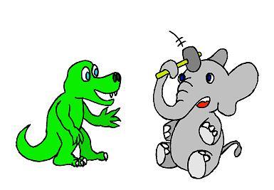 De olifant slaat zichzelf